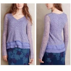 Anthropology purple lavender knit sweater size S